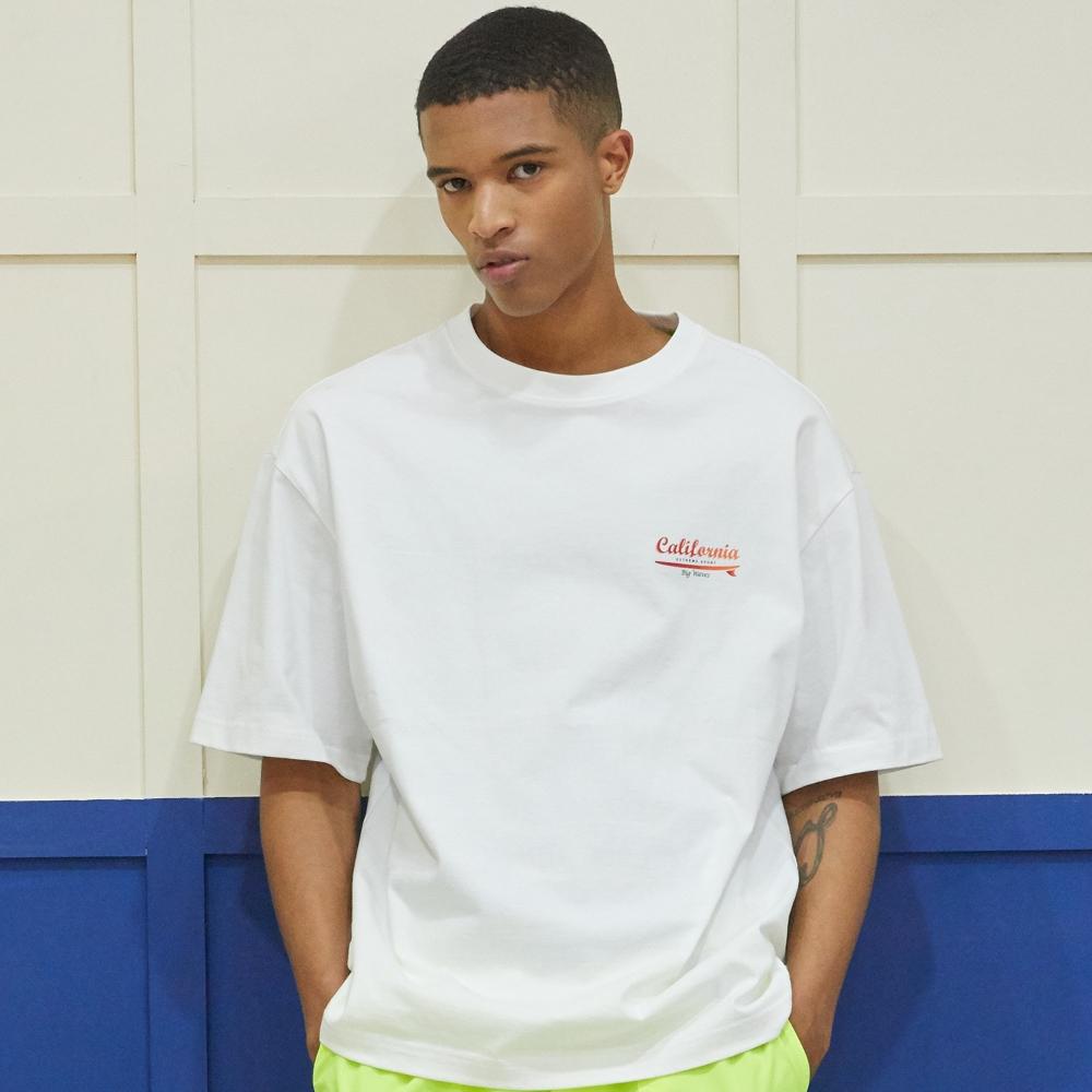 Sunrise Surfer Graphic T-Shirt - WHITE