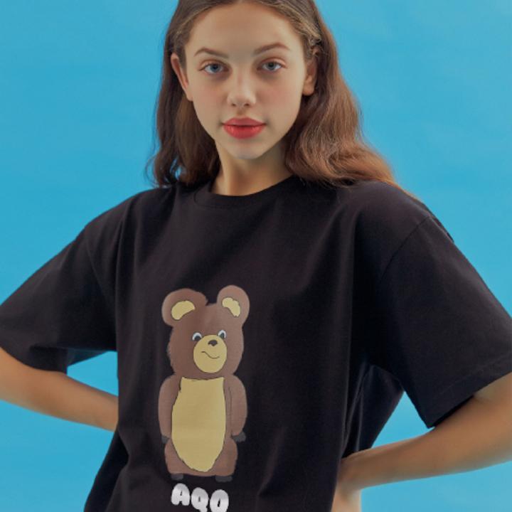 [배우 안보현, H&D 이한결 남도현 착용] AQO ERIC BEAR T-SHIRTS BLACK