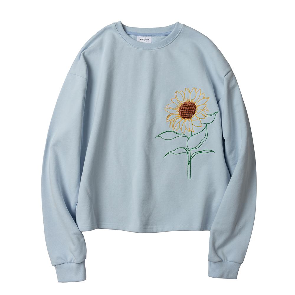 Sky blue sunflower embroidered sweatshirts