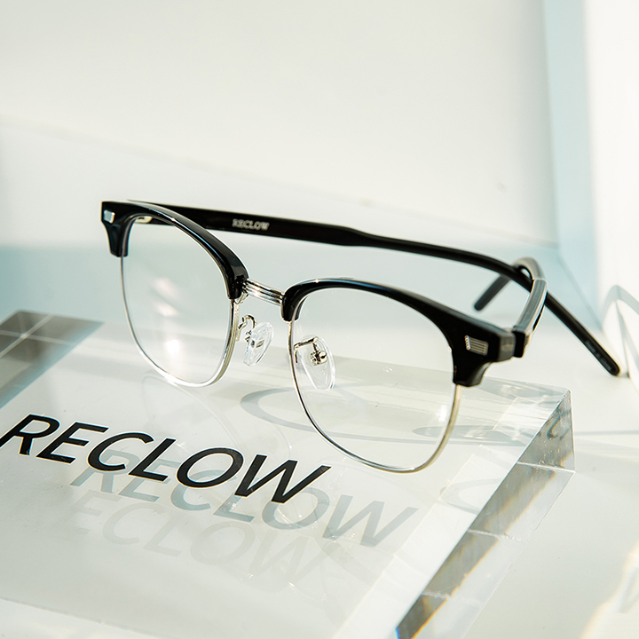 RECLOW E386 BLACK SILVER 청광렌즈 VER 안경