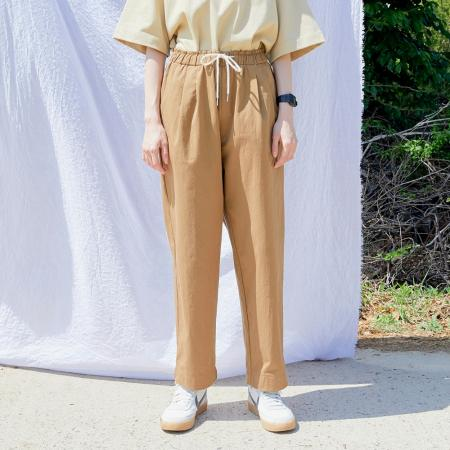 [단독 세일] PL090_Two tuck wide Banding Pants_Brown