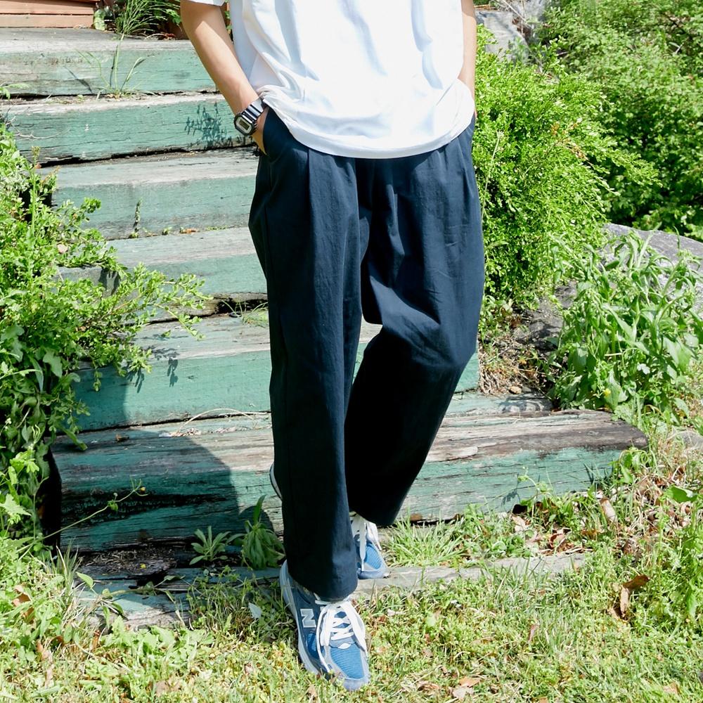 [단독 세일] PL091_Two tuck wide Banding Pants_Navy