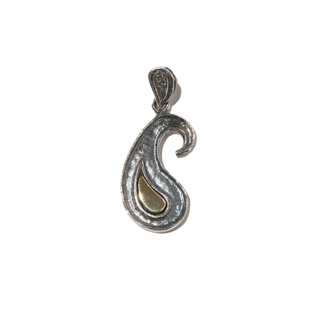PAISLEY TEXTURE NECKLACE (SILVER,BRASS)