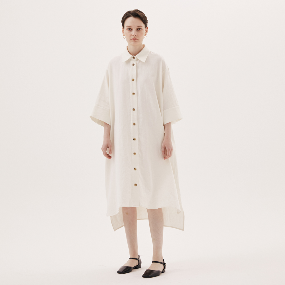 OVERSIZE LINEN SHIRTS ONEPIECE_OFF WHITE