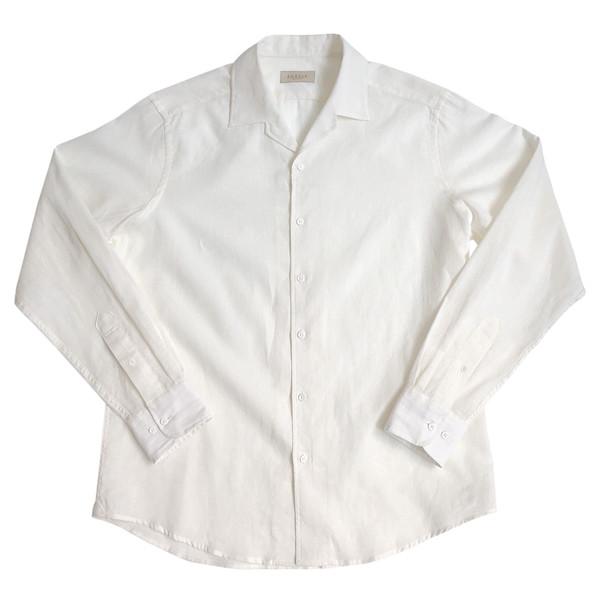 30s Linen open collar Shirts (Ivory)