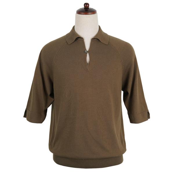 14gg Raglan Capri Knit collar (Mocha brown)