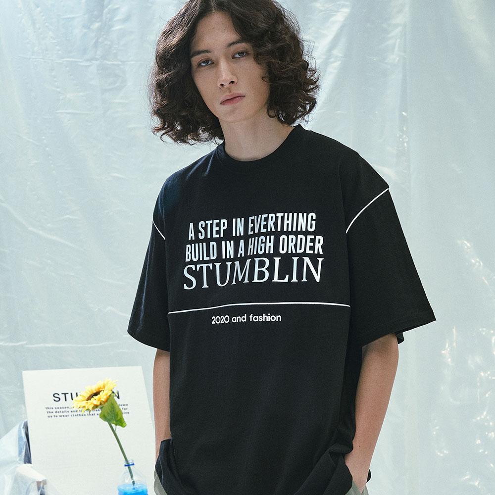 유니섹스 스카치 라인 포인트 오버핏 티셔츠 (블랙)