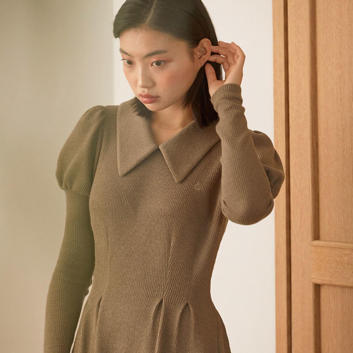 princess puff knit dress_camel