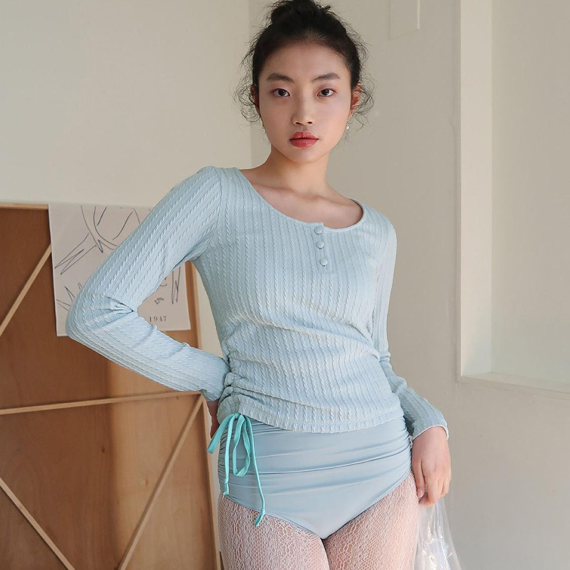 haa' ribbon U-neck t shirts_mint blue