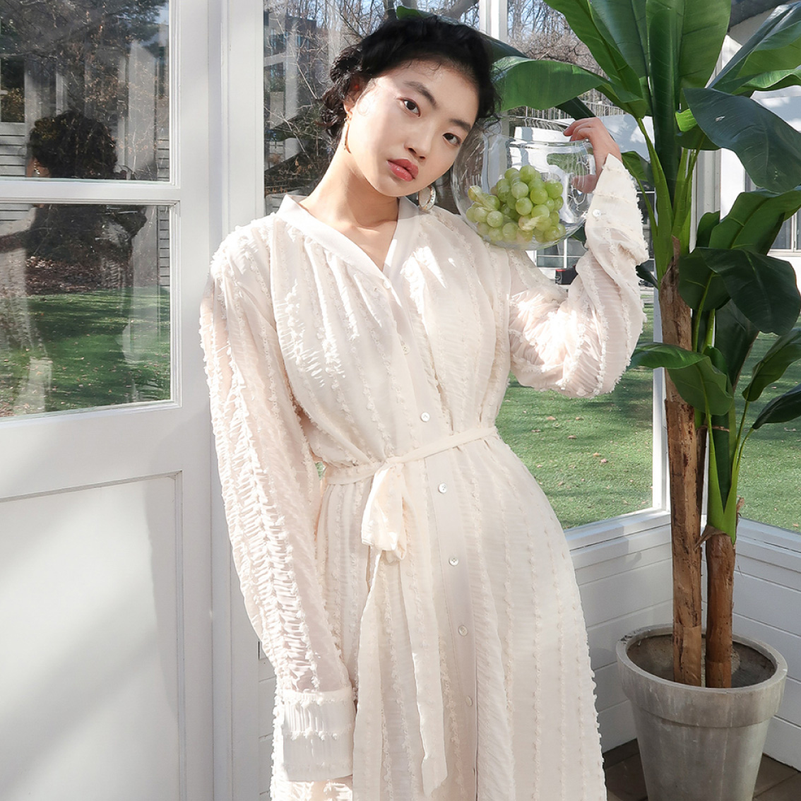 romantic shirring long dress_ivory