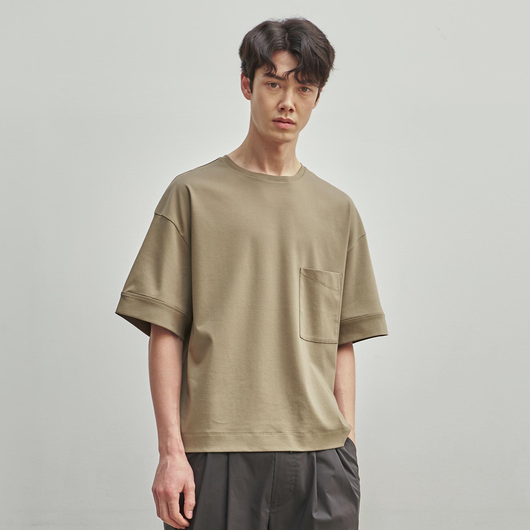 라인 시그니쳐 오버사이즈 실켓 티셔츠(Khaki)
