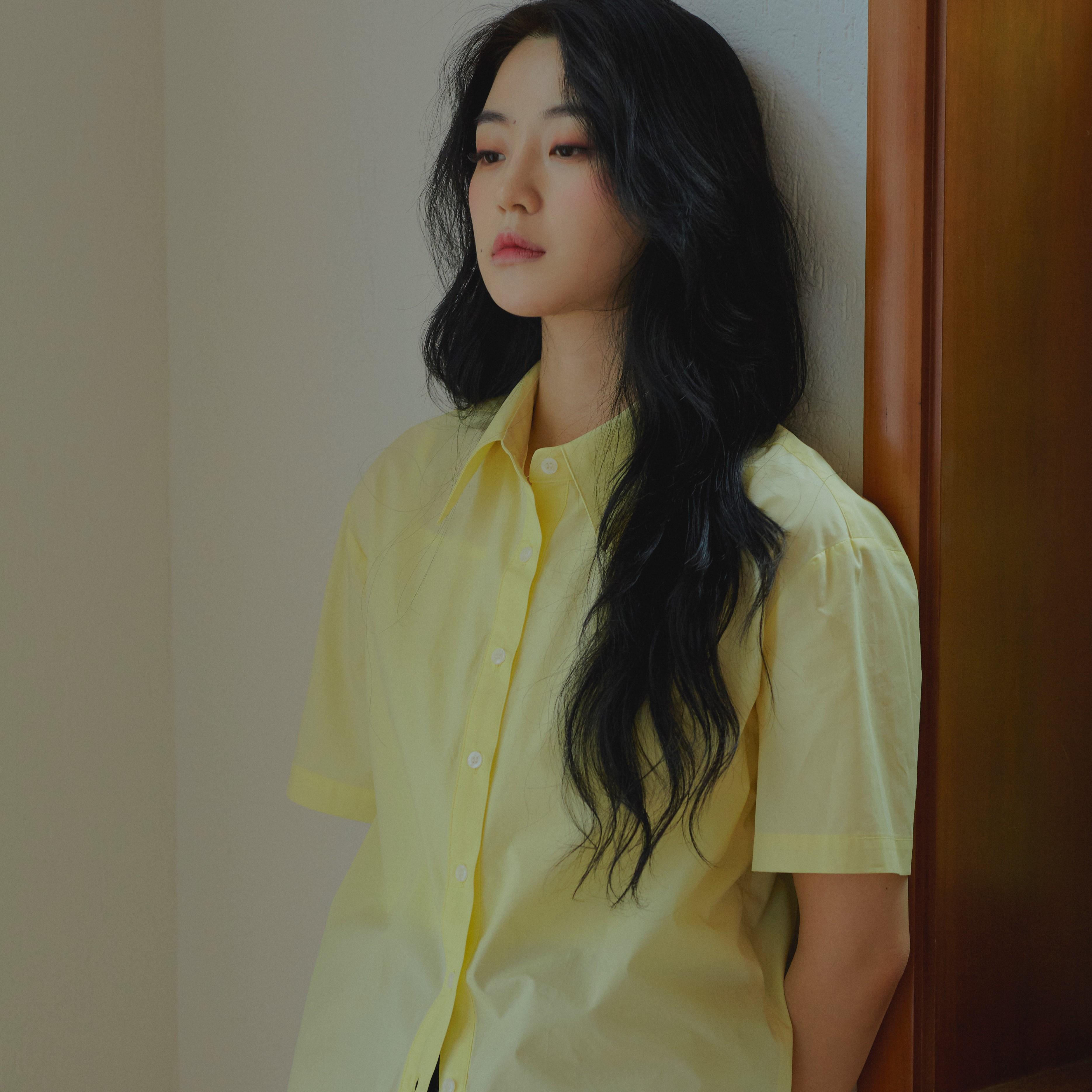 오버사이즈 코튼 셔츠 - 레몬 옐로우