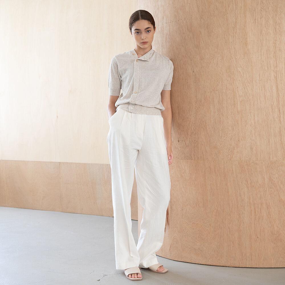 Linen wide slacks (ivory)