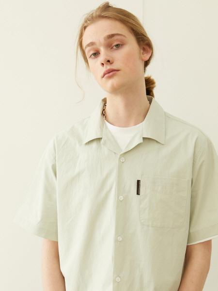 [블렌드] 슬로건 로고 오픈카라 셔츠_민트