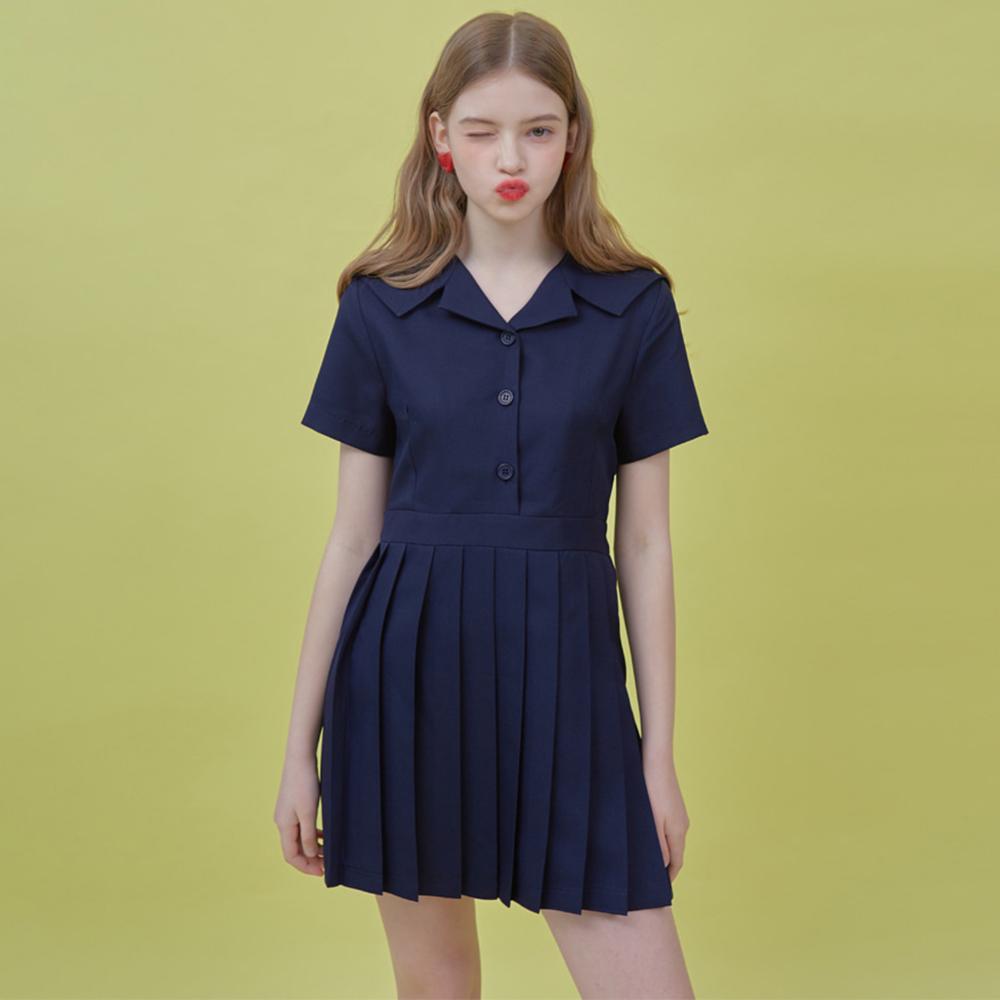 Heart Pleats Sailor Dress (Deep Navy)