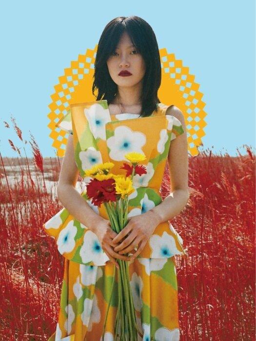 [쎄쎄쎄] 복주머니 플라워 꽃다발 블라우스