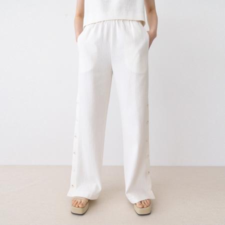 button slit pants (ivory)