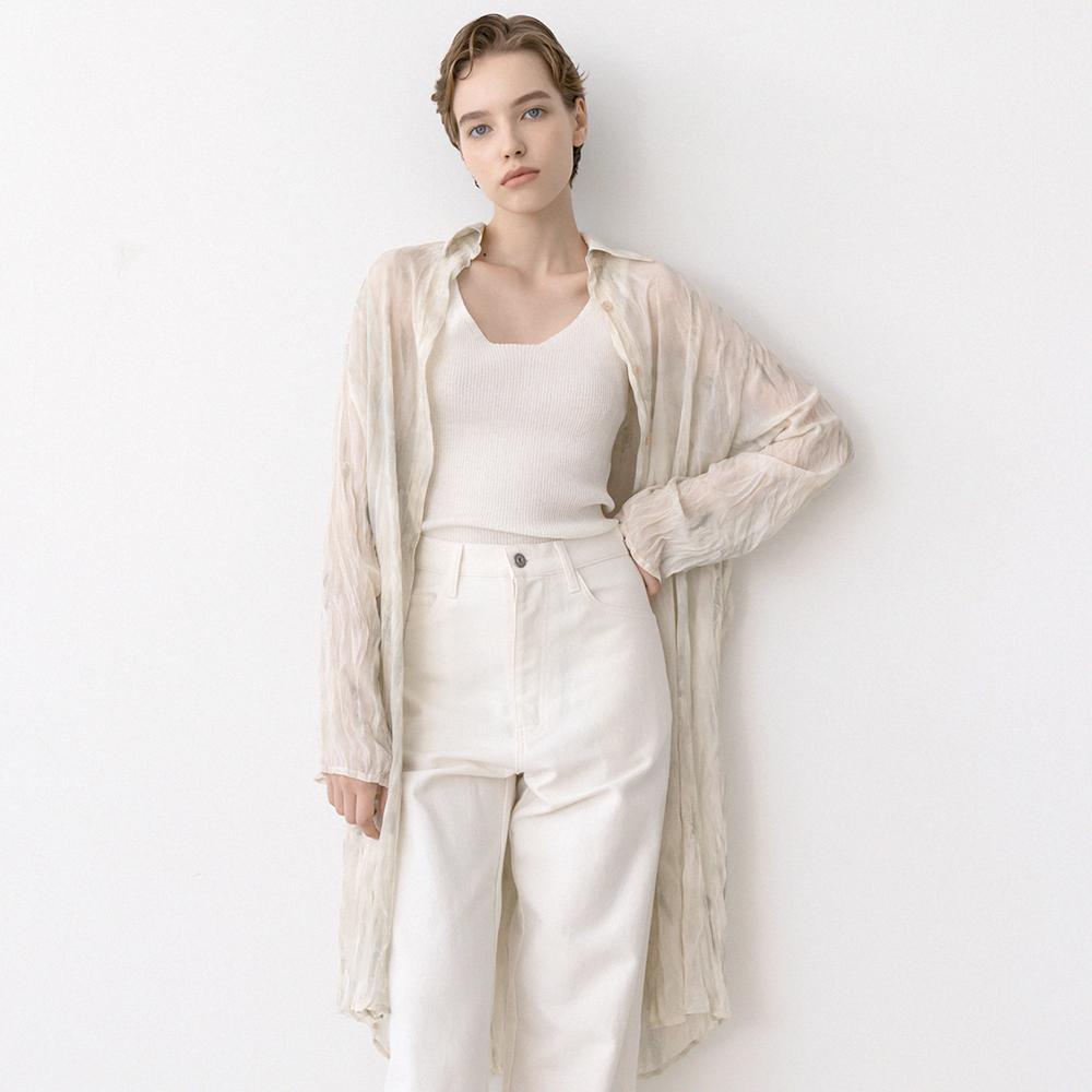 printing wrinkle long shirts (mint)