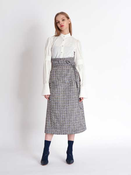 [프릭스] [FREAKS KIMTAEHOON] High Waist Cutting Edge Constructive Wrap Skirt_TWEED