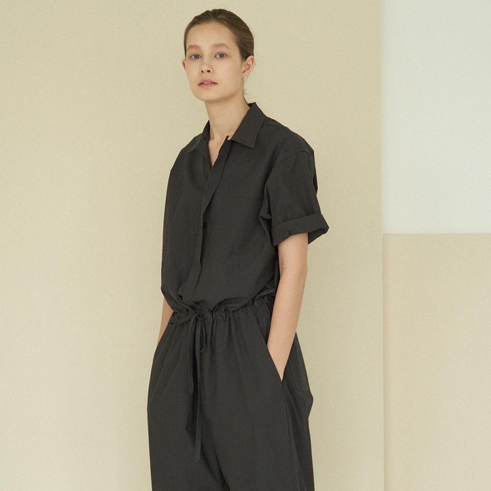 collar cotton jumpsuit (charcoal)