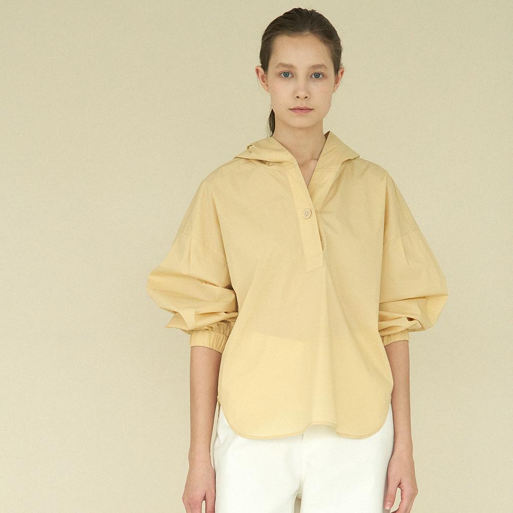bubble sleeve hoody blouse (yellow)