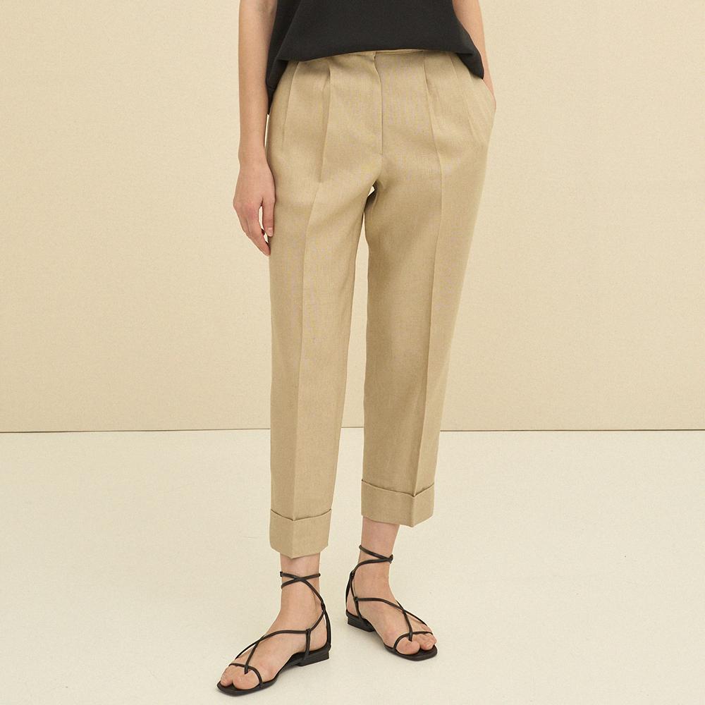linen turn-up trousers (beige)