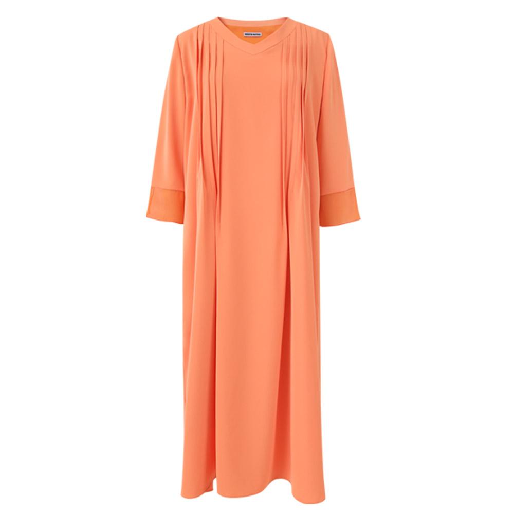 [민타레트로] Orange Pin tuck Long Dress