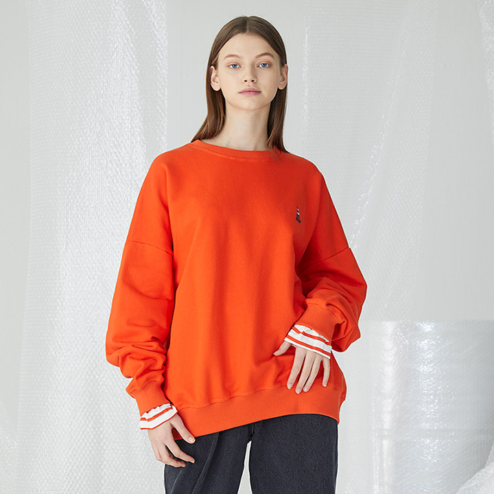 [밀로그램]Rubber Corn Layered Sweatshirts_ORANGE