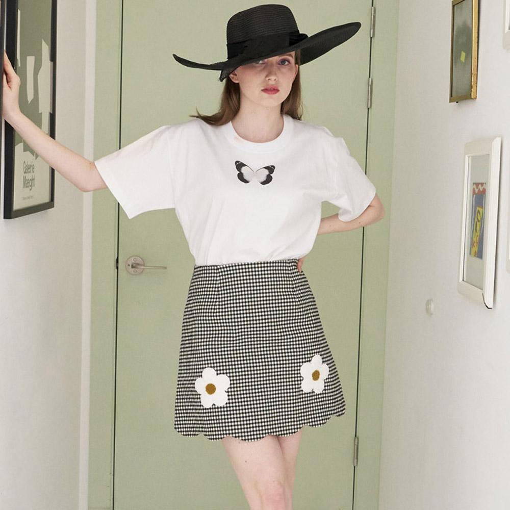 [민타레트로]Harmony Check Flower Point Skirt