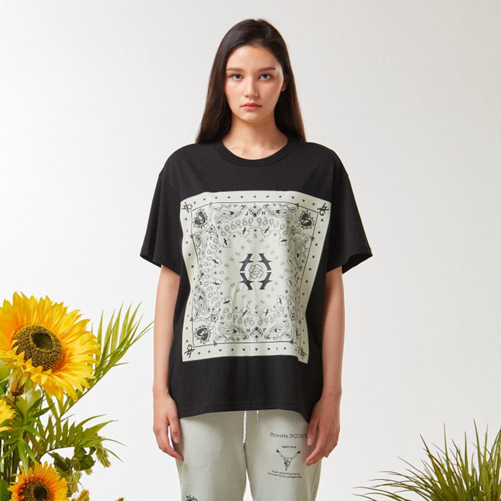 웨이브 반다나 티셔츠 블랙