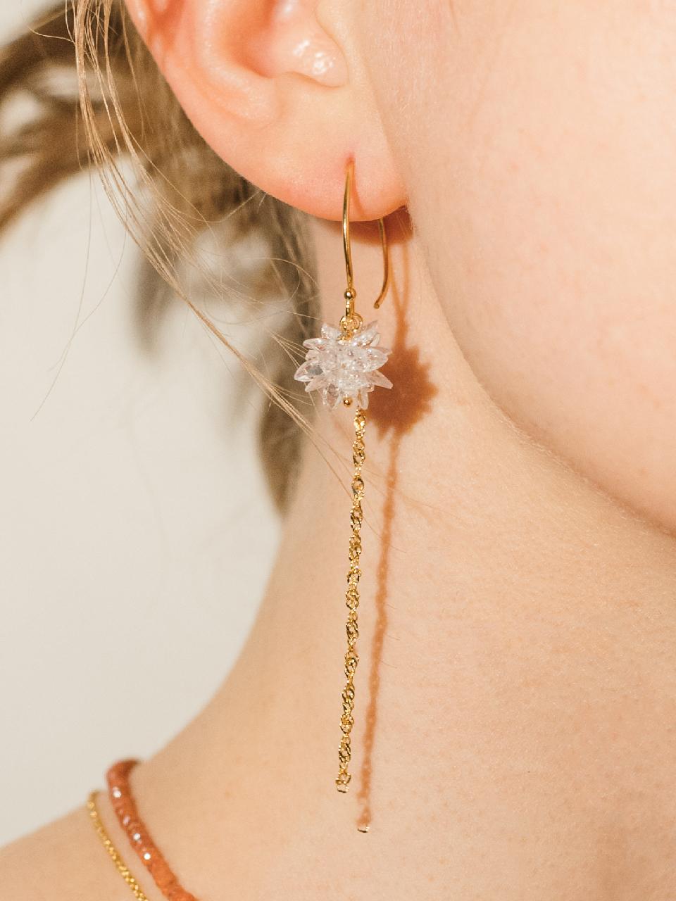 [제이레터]Silver Chandelier Crystal Long Earrings<