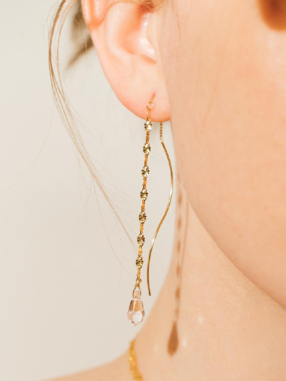 [제이레터]Silver Swarovski & Shining Chain Earrings