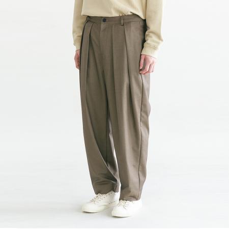 Pleats Silhouette Pants_Khaki Brown