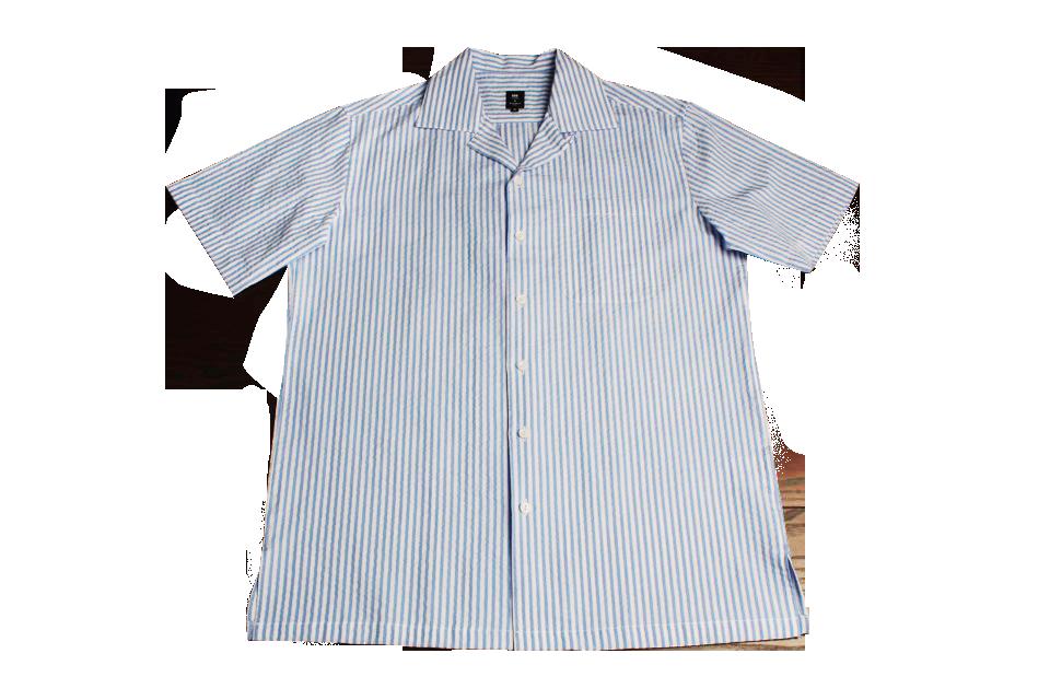 Hawaiian Collar Seersucker Shirts (BL)
