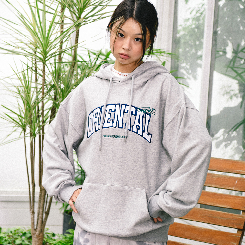 EMBROIDERY ORIENTAL HOODIE GRAY