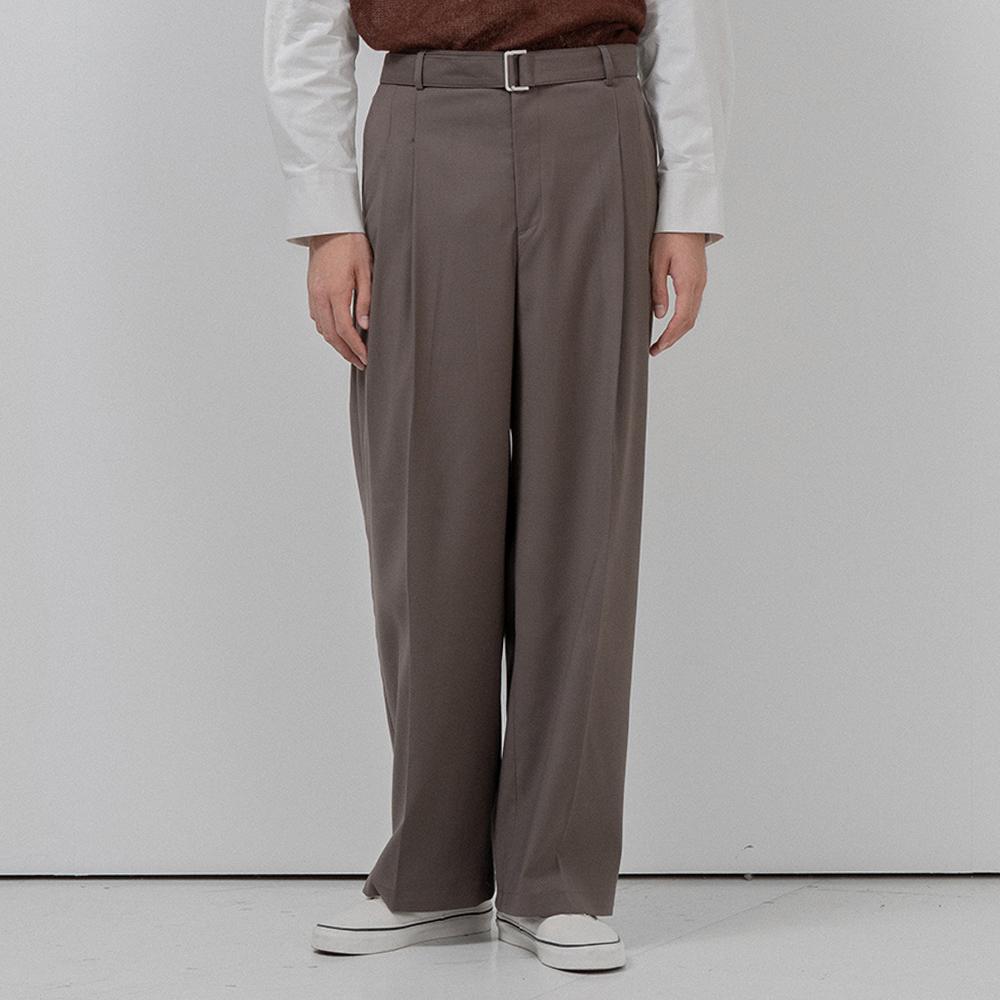 BF belt twotuck wide slacks khaki