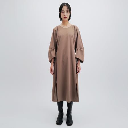 PINCH SLEEVE DRESS (BEIGE)