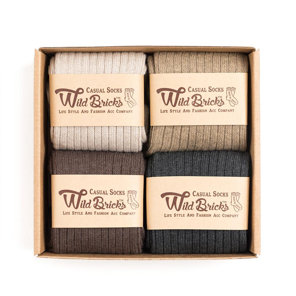 COTTON RIB SOCKS SET (ivory/beige/brown/charcoal)