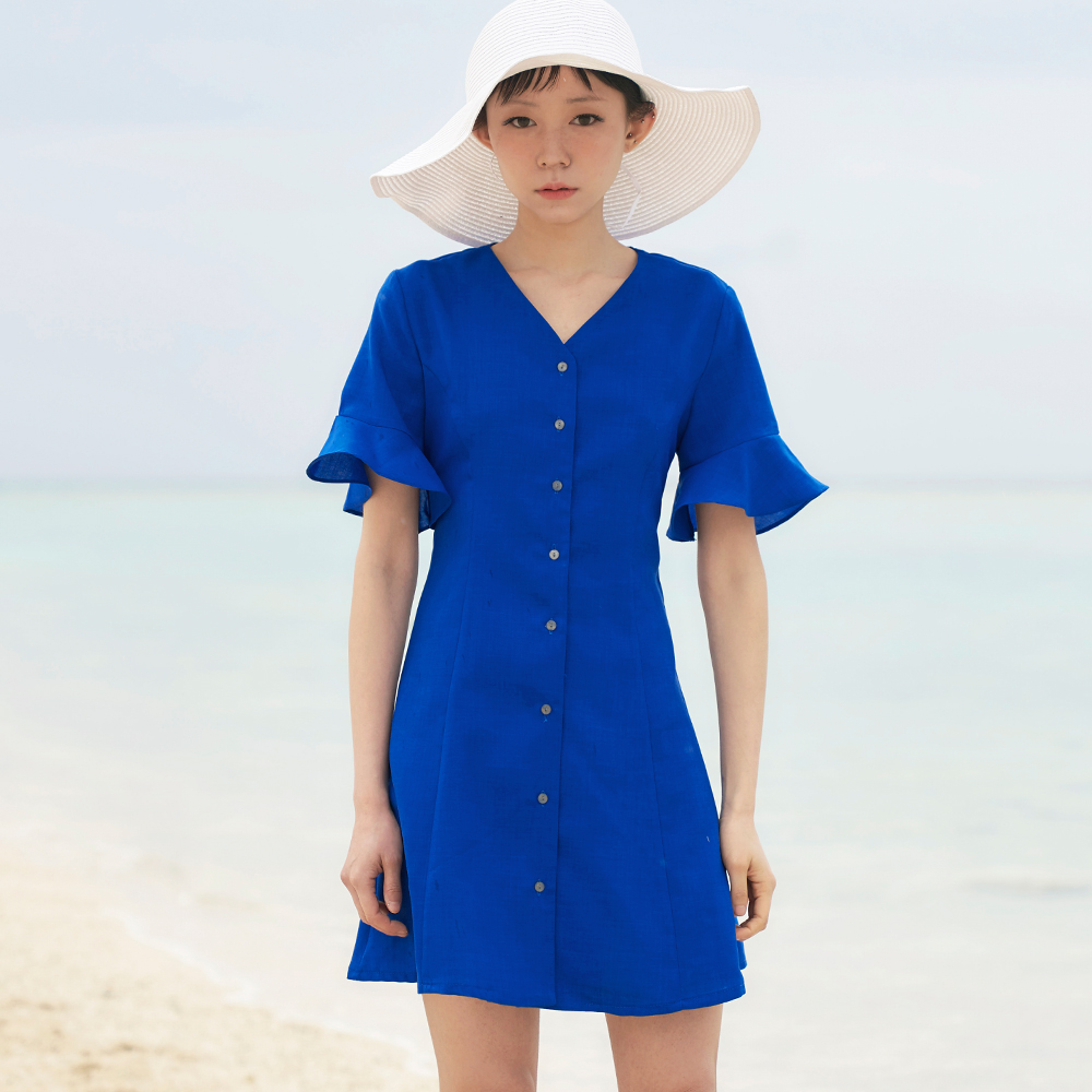 제인 프릴 버튼 드레스_코발트 블루