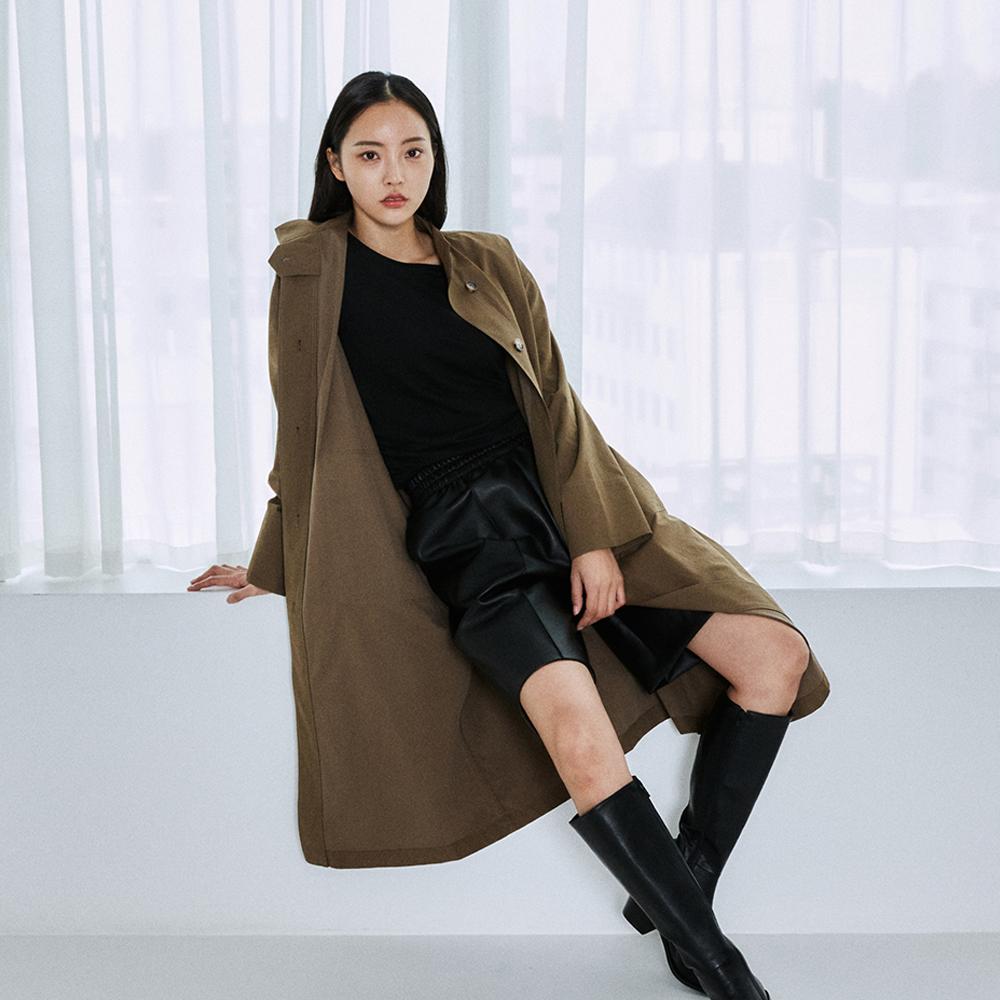 Single layer stitch coat _brown
