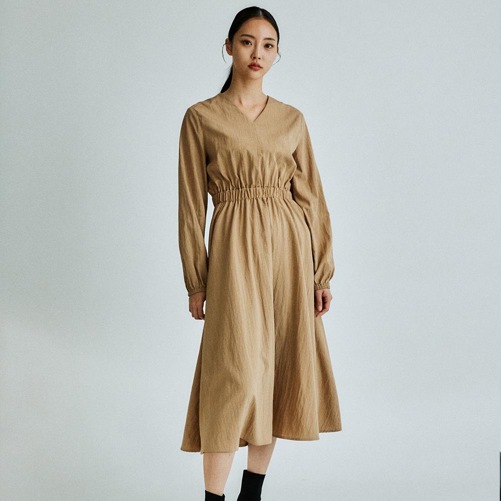 Banding waist long dress _brown