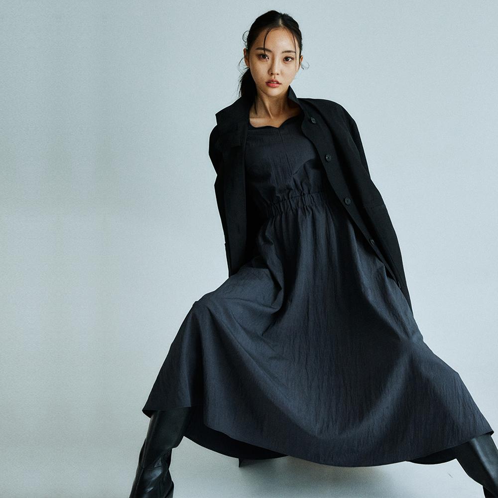 Banding waist long dress _charcoal