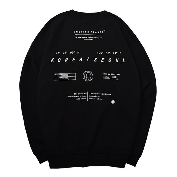[이모션플래닛] 인 더 에어리어 기모 스웨트셔츠 BLACK