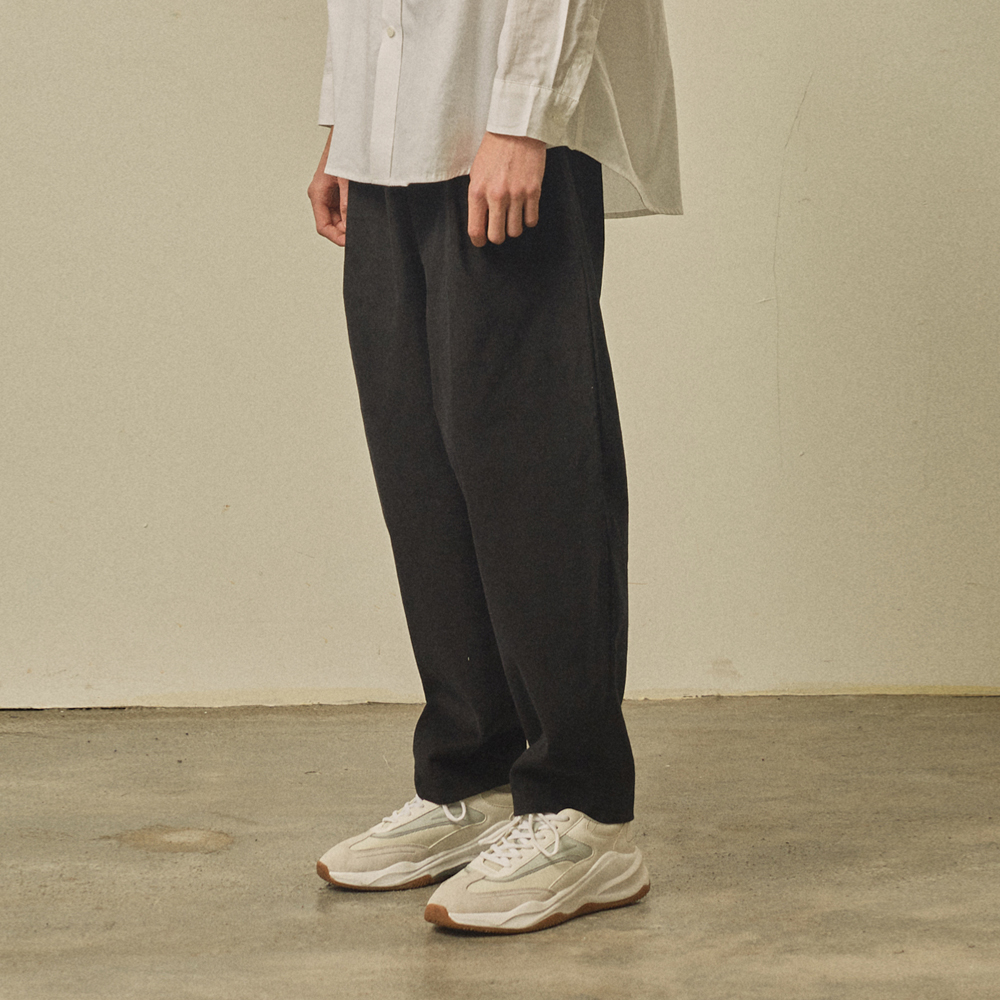 corduroy banding pants [oversize fit]_black