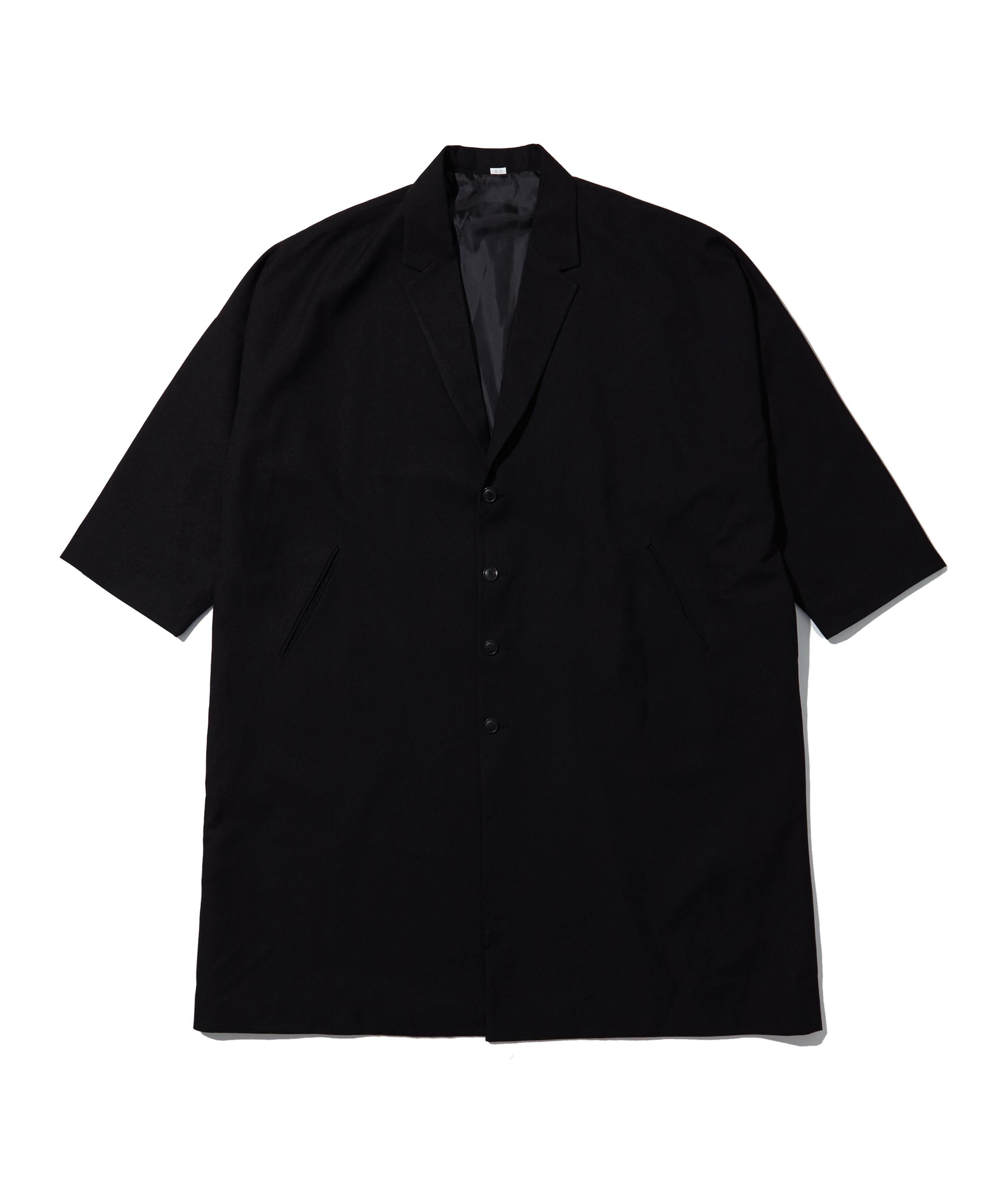 플로우 오버 싱글 코트 (BLACK)