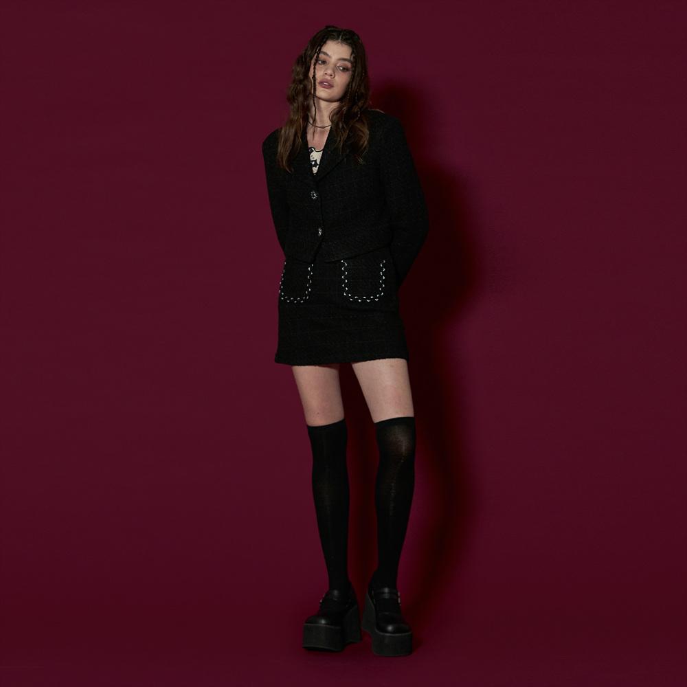 20ICMFW008 Tweed pocket skirt_black