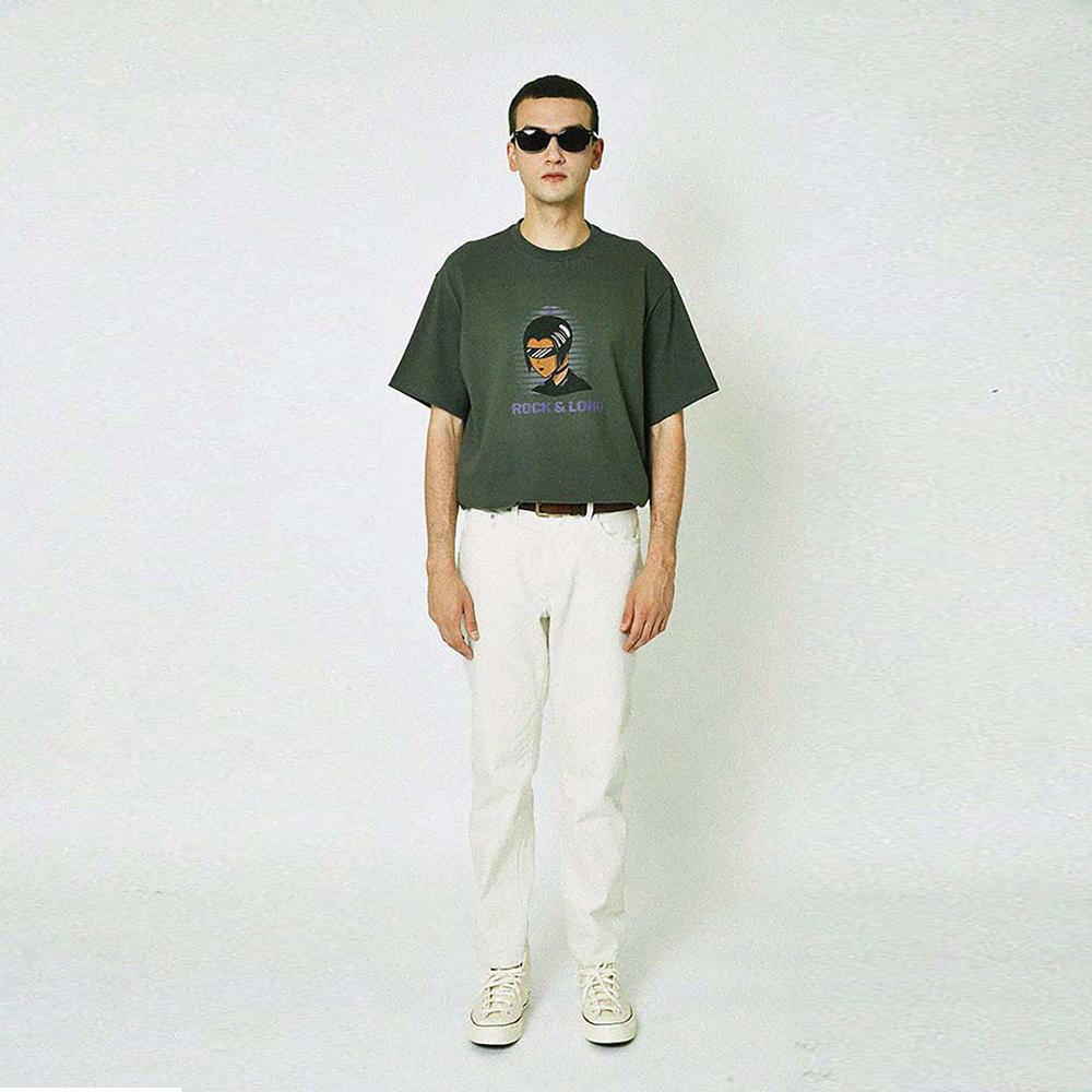ROCK & LONG print T-shirt (CHARCOAL)