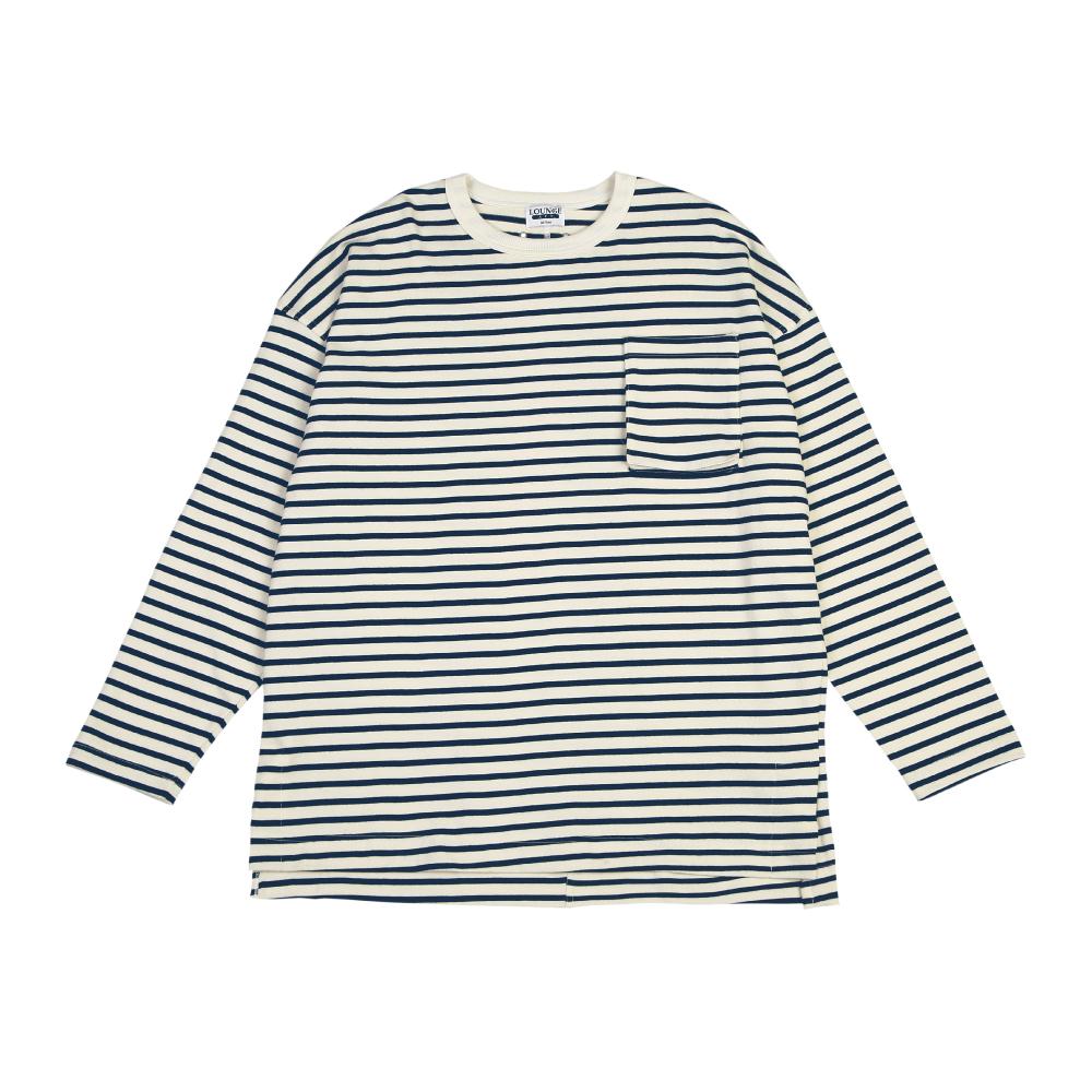 Stripe Plump Pocket LSV T-Shirt_Navy