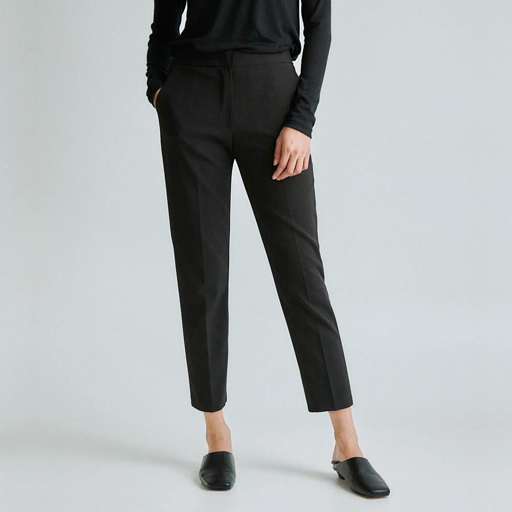 Span slim fit pants _black