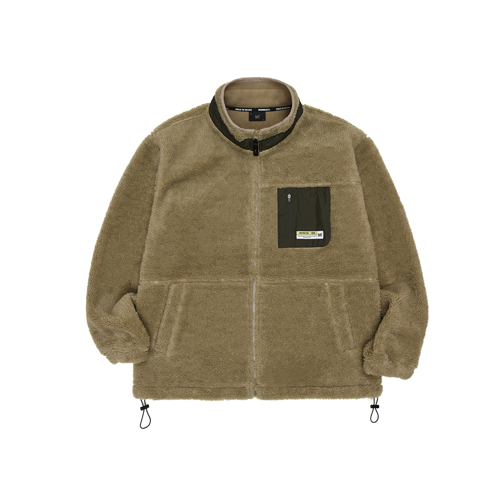 TAG BOA FLEECE JACKET - BEIGE